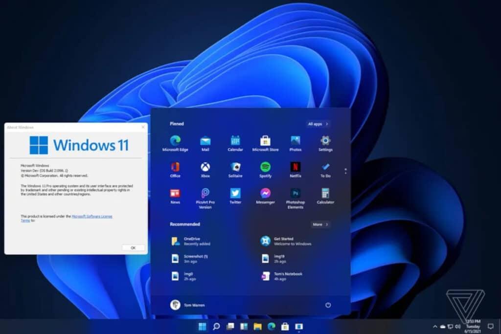 Windows 11 pantalla de inicio