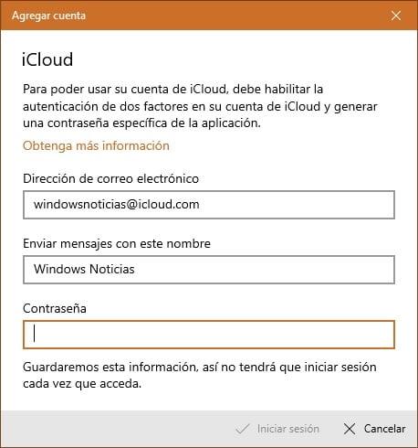 Añadir una cuenta de iCloud en la app Correo de Windows