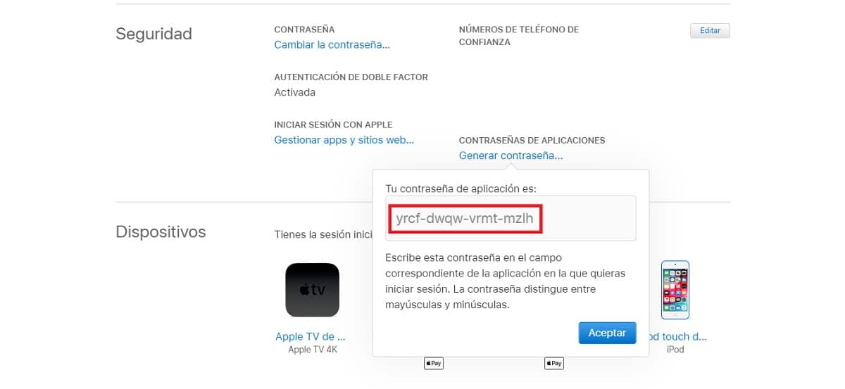 Crear contraseña de aplicación de un ID de Apple