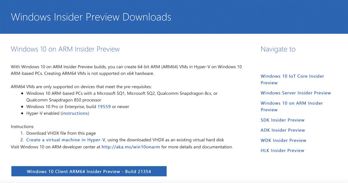 Descargar Windows 10 ARM desde la web de Microsoft